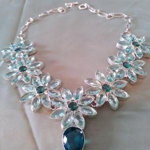 Sky Blue & Teal Blue Flower Necklace